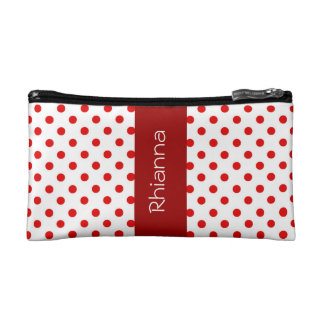 Red and White Polka Dots Custom Gift Item P034 Makeup Bag