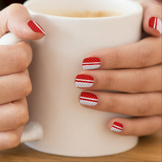 Red and White Polka Dots Designs Minx Nail Art
