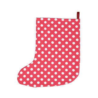Red and White Polka Dots Large Christmas Stocking
