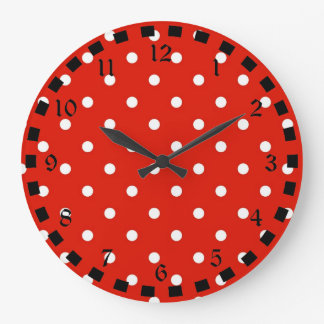 Red and White Polka Dots Large Clock