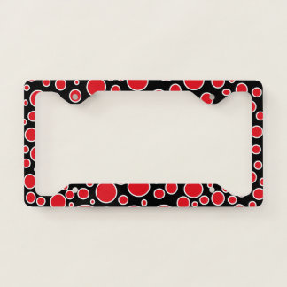 Red and White Polka Dots License Plate Frame