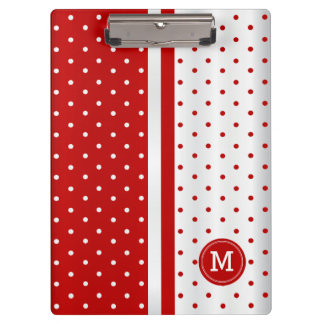 Red and White Polka Dots - Monogram Clipboards