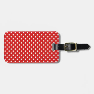 Red and White Polka Dots Pattern Luggage Tag