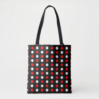 Red and white polka dots pattern tote bag