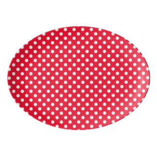 Red and White Polka Dots Porcelain Serving Platter