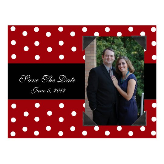 Red and White Polka Dots Save the Date post card