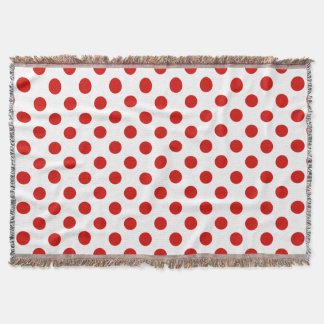 Red and white polka dots throw