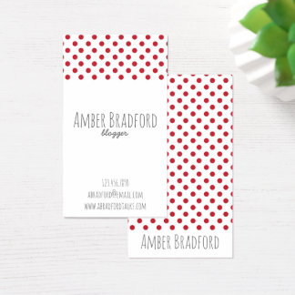 Red and White Polkadot Business Cards