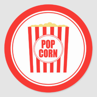Red And White Popcorn Classic Round Sticker