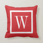 Red and White Preppy Square Monogram Throw Pillow