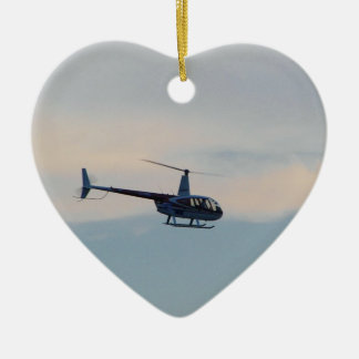 Red and White R44 Helicopter Ceramic Ornament