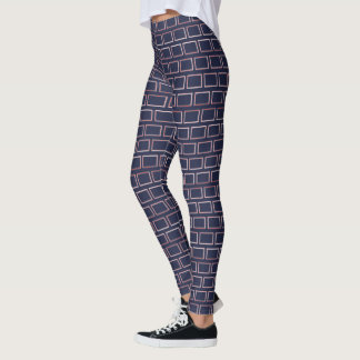 Red and White Rectangles Geometry Pattern Leggings