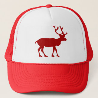 Red and White Reindeer Trucker Hat