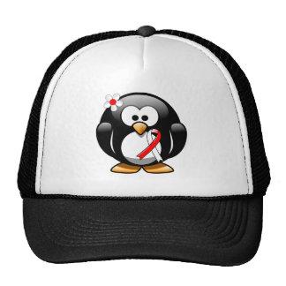 Red and White Ribbon Penguin Trucker Hat