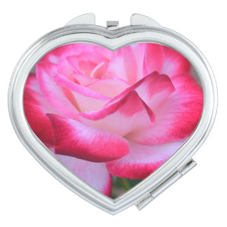 Red And White Rose Compact Mirror