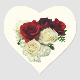 Red and White Rose Heart Heart Sticker