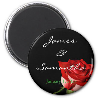 Red and White Rose Personal izedWedding Magnet
