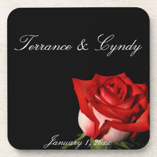 Red and White Rose Personal Wedding Coasters