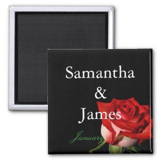 Red and White Rose Personalized Wedding Magnet
