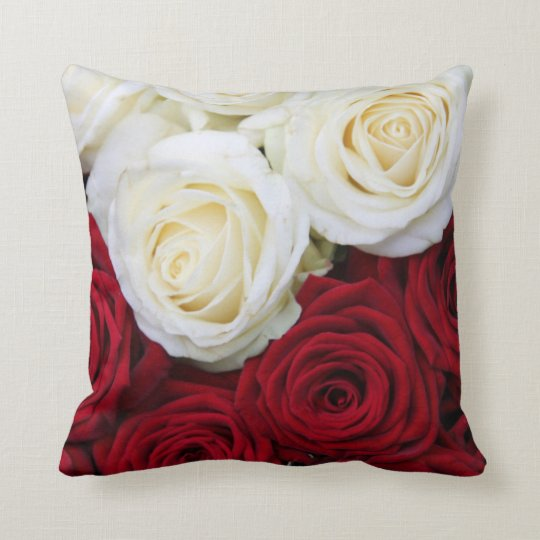 Red and white rose pillow