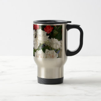 Red and white roses floral arrangement coffee mug