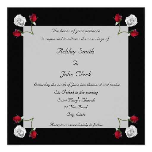 Red and White Roses wedding invitation