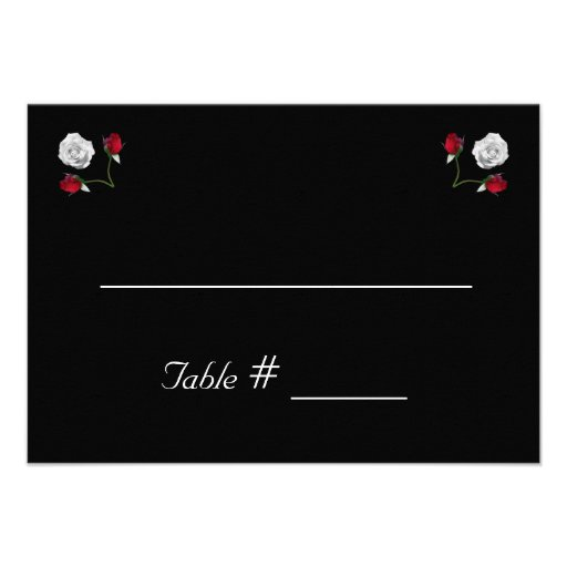 Red and White Roses wedding place card Personalized Invites