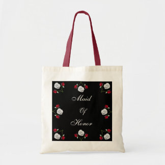 Red and White Roses wedding tote bag