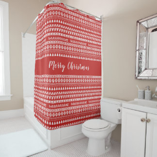Red and White Rows Christmas Picture Font Pattern