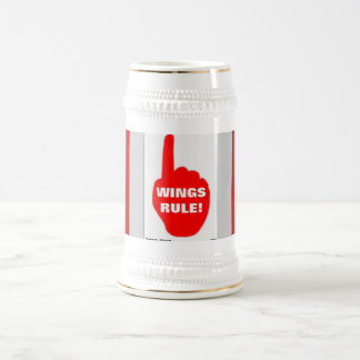 RED AND WHITE RULE BEER STEIN