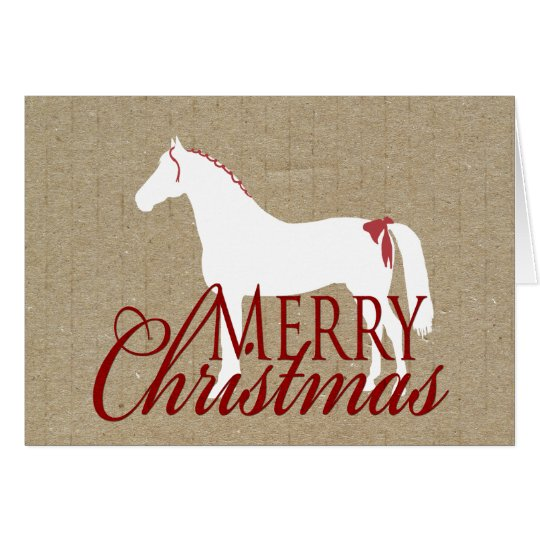 Red and White Rustic Horse Christmas Card