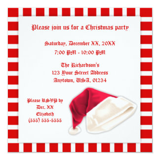 Red and White Santa Claus Hat Christmas Personalized Invite