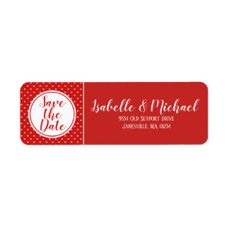Red and White Save the Date Return Address Labels