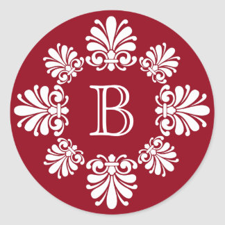 Red and White Scroll Wreath Monogram Classic Round Sticker