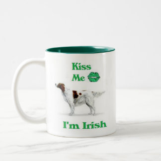 Red and White Setter-Kiss me I'm Irish Two-Tone Coffee Mug