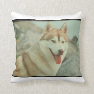 Red and White Siberian Husky MoJo Pillow