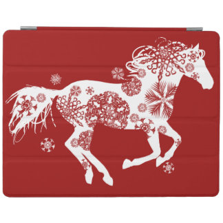 Red and White Snowflake Christmas Horse iPad Cover