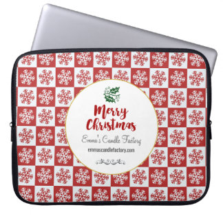 Red and White Snowflake Pattern Merry Christmas Laptop Sleeve