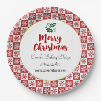 Red and White Snowflake Pattern Merry Christmas Paper Plate