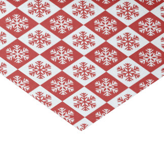 Red and White Snowflake Pattern Merry Christmas Tissue Paper