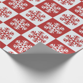 Red and White Snowflake Pattern Wrapping Paper