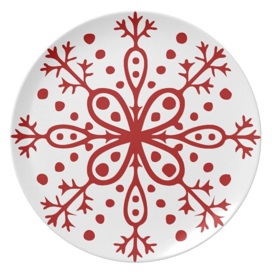 Red and White Snowflake Plate