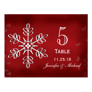 Red and White Snowflake Wedding Table Number Cards Postcard