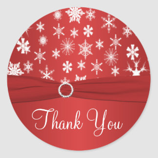 Red and White Snowflakes Thank You Sticker