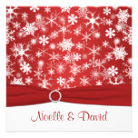 Red and White Snowflakes Wedding Invitation