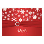 Red and White Snowflakes Wedding Reply Card Invitation