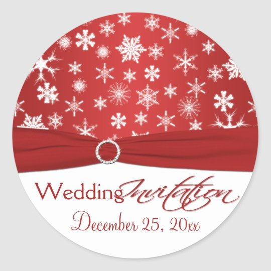 Red and White Snowflakes Wedding Sticker
