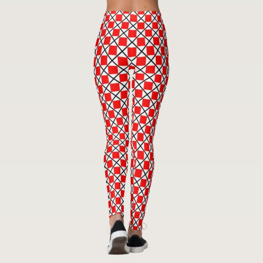 Red and White Squares Leggings