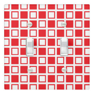 Red and White Squares Light Switch Cover