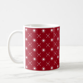 Red-and-White Star-and-Dot-Patterned Mug